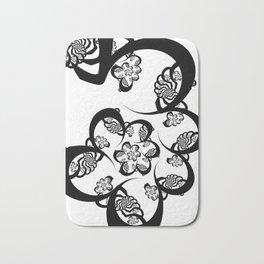 Black and White Fractal Spiral Bath Mat