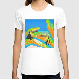 Colorful Toucans Tropical Banana Leaves Pattern T-shirt