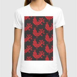 bird peacock Ornament of folk embroidery, red contour on black background T-shirt
