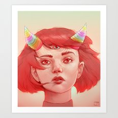Red girl with horns Art Print