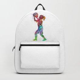 Girl Basketball Player Colorful Watercolor Sports Art Kid Basketball Backpack