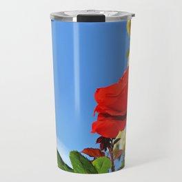 Red rose in a garden Travel Mug