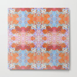Spring Chinoiserie Wall Art Print - Tangerine Orange & Sky Blue | Delicate Floral Stencil Design Metal Print