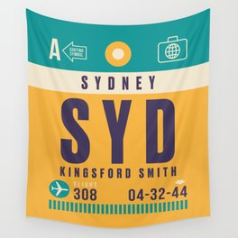 Retro Airline Luggage Tag - SYD Sydney Kingsford Smith Wall Tapestry