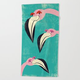 The Curious Flamingos Beach Towel