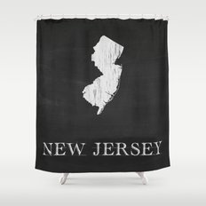 New Jersey State Map Chalk Drawing Shower Curtain