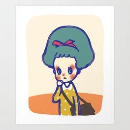 Thinking girl  Art Print