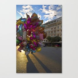 Urban Flowers Colorful Balloons at the Plaza Canvas Print