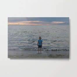 Boy and the Silver Sea Metal Print