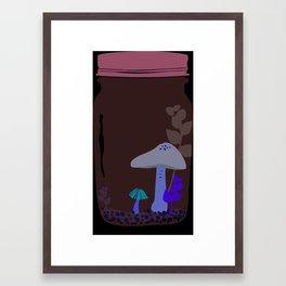 Shy little mushrooms in a terrarium Framed Art Print