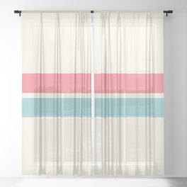 2 Stripes Pink Mint Sheer Curtain