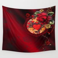 valentine Wall Tapestries featuring Valentine by The Victorian Fantasy
