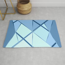 Mosaic tiled glass with black rays Rug