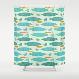 Shimmering Scandinavian Fish In Blue And Gold Pattern Shower Curtain