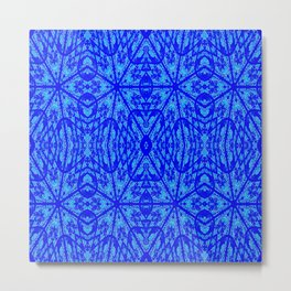 Blue on Blue Floral Pattern Metal Print
