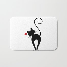 Silhouette Black Cat with Red Heart Bath Mat