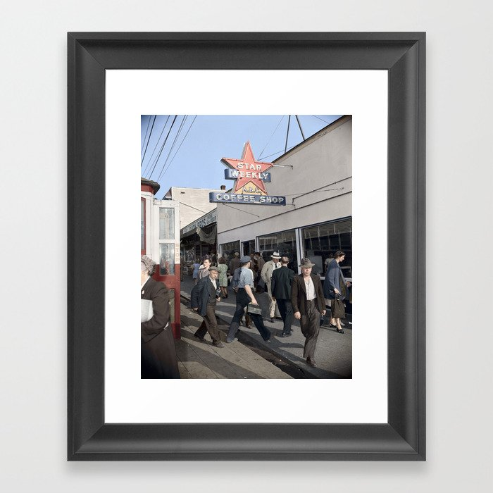Pedestrians outside the A.B.C. Coffee Shop, 3700 East Hastings Street , Vancouver 1940s Framed Art Print