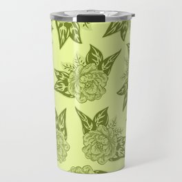 Cabbage Roses in Chartreuse Travel Mug