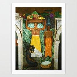 Tehuana Women Bringing Fruit to Market by Diego Rivera Art Print