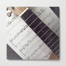happy strings {ukulele Metal Print