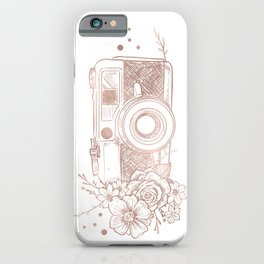 Floral Camera Pink Rose Gold iPhone Case