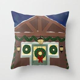 Rustic Christmas Night Throw Pillow