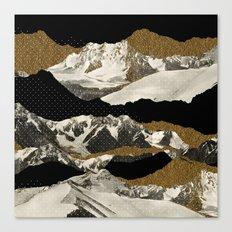 Golden Zugspitze Square / Black Canvas Print
