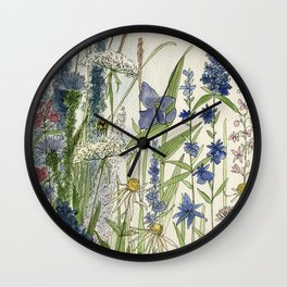Wildflowers 2 watercolor Wall Clock
