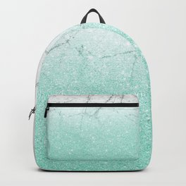 Azure Glitter and Grey Marble Backpack