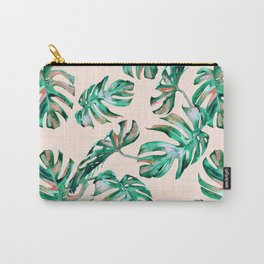 Tropical Palm Leaves Coral Greenery Carry-All Pouch