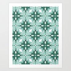 Watercolor Green Tile 2 Art Print