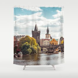 Historic Charles Bridge Vltava River Prague Amazing Cityscape Czech Republic Europe Ultra HD Shower Curtain