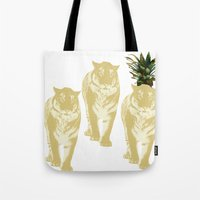 tigers Tote Bags featuring tigers by vica