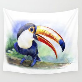 Toucan watercolor illustration, aquarelle art bird Wall Tapestry