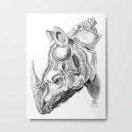 Rhino engraving Metal Print