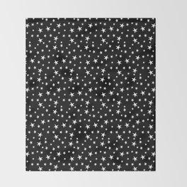 Mini Stars - White on Black Throw Blanket