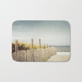 Beach Fence Photography, Blue Brown Coastal Photo, Seashore Dune Sand, Ocean Seaside Bath Mat