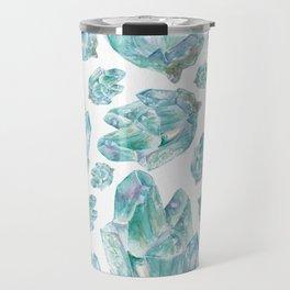 Aquamarine Birthstone Watercolor Painting Travel Mug