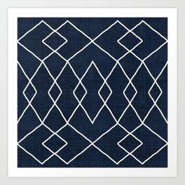 Brook in Navy Blue Art Print
