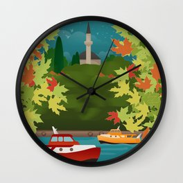 The Lake & The Mosque at the Castle, Ioannina (GR) Wall Clock