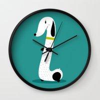 dog Wall Clocks featuring Dog by Maria Jose Da Luz