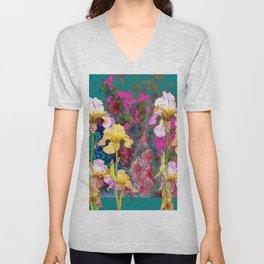 Decorative Yellow & Pink Spring Teal Iris Garden Unisex V-Neck