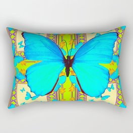 Turquoise Satin Butterflies On Lime & Cream Colors Rectangular Pillow