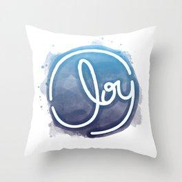 Joy - Blue Throw Pillow