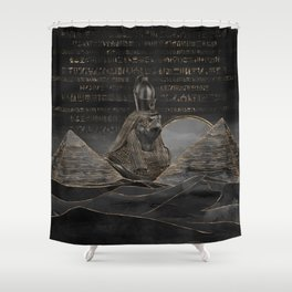 Horus on Egyptian pyramids landscape Shower Curtain