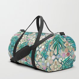 Muted Moroccan Mosaic Tiles with Palm Leaves Duffle Bag