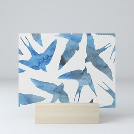 Watercolor birds - sapphire ink Mini Art Print