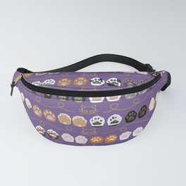 Toe Beans on Purple / Cat Paws Fanny Pack