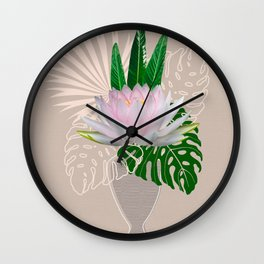 Water lilly in vase. Lotus. Modern collage art Wall Clock