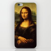 mona lisa iPhone & iPod Skins featuring Mona Lisa by Elegant Chaos Gallery
